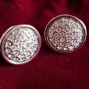 Swarovski crystal pave dome button clip earrings